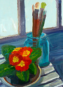 Primroses Paintings - Red Primroses by Sherri McDowell