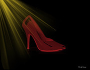 Sexy Shoes Posters - Red Pump Poster by Cheryl Young