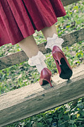 Wood Bench Prints - Red Pumps Print by Joana Kruse