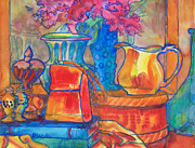 Warm Tones Art - Red Purse and Blue Line by Blenda Studio