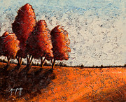 Cypress Tree Digital Art Prints - Red Quartet  Print by Mauro Celotti
