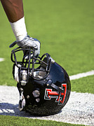 Sports Photo Posters - Red Raider Helmet Poster by Michael Strong