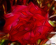 Red Flower Digital Art - Red Red Rose by Methune Hively