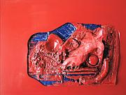 Female Reliefs Metal Prints - Red Relief Metal Print by Chuck Kugler