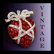 Vintage Jewelry Posters - Red Rhinestone Vintage Heart Pin Poster by Jai Johnson