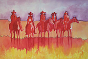 Horse Riders Painting Originals - Red  Riders by Raymond Schuster