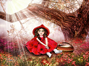 Basket Digital Art Prints - Red Riding Hood Print by Mo T