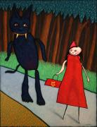Forest Painting Prints - Red Ridinghood Print by James W Johnson