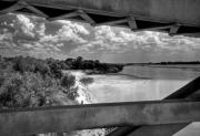 Red River Acrylic Prints - Red River Bridge View Acrylic Print by Fred Lassmann