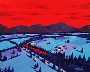 Mountains Paintings - Red River Valley by Randall Weidner