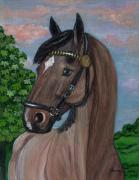 Rural Living Painting Posters - Red Roan Horse Poster by Anna Folkartanna Maciejewska-Dyba