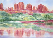 Deb Ronglien Watercolor Posters - Red Rock Canyon Poster by Deborah Ronglien