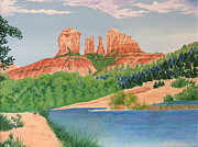 Red Rock Crossing Painting Prints - Red Rock Crossing Print by Aimee Mouw