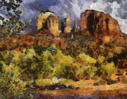 Red Rock Crossing Prints - Red Rock Crossing Print by Elaine Frink