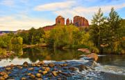 Sedona. Sunset Framed Prints - Red Rock Crossing Three Framed Print by Paul Basile