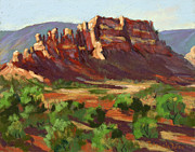 Area Pastels Prints - Red rock evening light Print by Patricia Rose Ford
