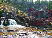 Swiftcurrent Falls Prints - Red Rock Falls in Glacier NP Print by Ruth Hager