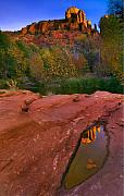 Puddle Metal Prints - Red Rock Reflection Metal Print by Mike  Dawson