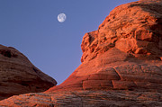 Painted Image Posters - Red Rock Sandstone Formations And Full Moon Near Lake Powell, Page, Arizona, Usa Poster by Russell Burden