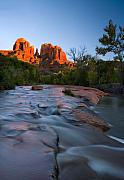 Creek Prints - Red Rock Sunset Print by Mike  Dawson