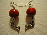 Fine-art Jewelry Prints - Red Rocker French Horn Earrings Print by Jenna Green