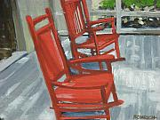 Rocking Chairs Framed Prints - Red Rockers Two Framed Print by Robert Rohrich