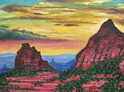 Desert Art Mixed Media - Red Rocks at Sunset - Arizona by Dan Haraga