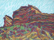 Landmark Pastels Prints - Red Rocks Print by Robert  SORENSEN