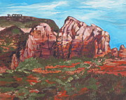 Sedona Painting Prints - Red Rocks Print by Sandy Tracey