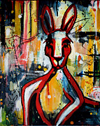 Abstract Expressionist Posters - Red Roo Poster by Leanne Wilkes
