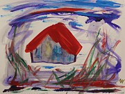 Red Roof Drawings - Red Roof Among Tall Grasses by Mary Carol Williams