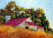 Old Barn Paintings - Red Roof Barn by Henry Smith