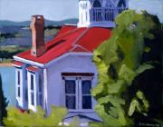 Boston Harbor Paintings - Red Roof House by Deb Putnam