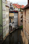 Tourism Prints - Red Rooftops in Prague Canal Print by Linda Woods