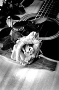 Music Prints - Red Rose Acoustic Guitar Print by M K  Miller