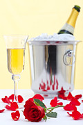 Sparkling Wine Photo Posters - Red rose and champagne Poster by Richard Thomas