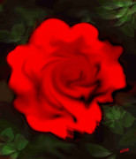 Flower Posters Digital Art - Red Rose by Elva Kimble