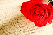 Love Letter Prints - Red rose over a hand written letter Print by Ulrich Schade