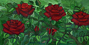 Folkartanna Paintings - Red Roses - horizontal by Anna Folkartanna Maciejewska-Dyba