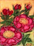 Polish Painters Paintings - Red Roses by Anna Folkartanna Maciejewska-Dyba