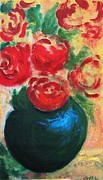 Realist Digital Art - Red Roses In Blue Vase by G Linsenmayer