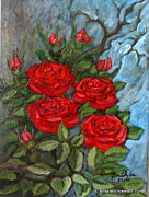 Folkartanna Painting Metal Prints - Red Roses in Old Garden Metal Print by Anna Folkartanna Maciejewska-Dyba