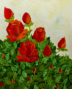 Pallet Knife Prints - Red roses Print by Isabella Talbot-Imber