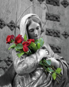 Virgin Mary Posters - Red Roses Poster by Munir Alawi