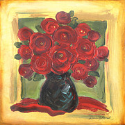 Red And Black Prints - Red Roses Square Print by Renee Womack