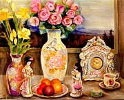 Living Beings Posters - Red Roses Yellow Daffodils In Hand Painted Oriental Antique Vases With Fruit Plate Doves And Angels Poster by Carole Spandau