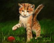 Cute Kitten Originals - Red Rubber Ball by Dyanne Parker