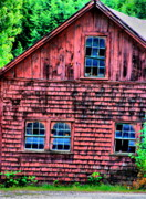 Old Barns Framed Prints - Red Ruins Framed Print by Emily Stauring