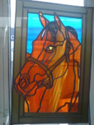Racehorses Glass Art - Red Rum by Robin Jeffcoate