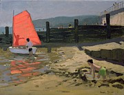 Sailboat Art - Red Sail Isle of Wight by Andrew Macara